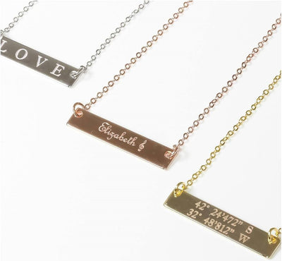 14K Gold Filled Name Necklace Custom Gold Bar Necklace Gold Name Plate Necklace Bar Nameplate Necklace Engraved Wedding Gift - product_type] - Beautiz