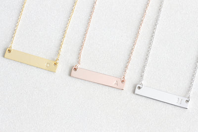 Personalized Gold Initial Bar Necklace, Dainty Hand Stamped Initial Letter Necklace Friendship Necklace, bridesmaid gift, Christmas gift - Beautiz