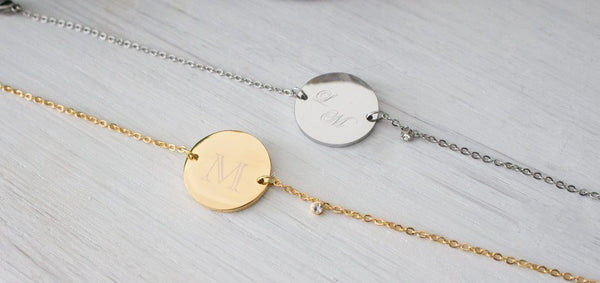 Personalized Gold Disc Bracelet, Valentines Day Gift, initial  Beautiz