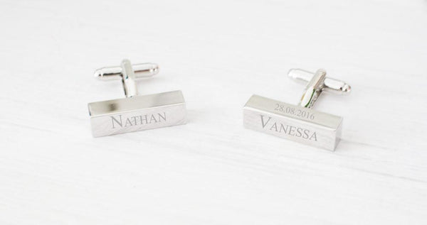 Engraved Cufflinks for Men, Silver Rectangle Initials Unique N Beautiz