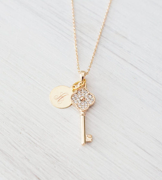 Personalized 18K Gold plated Women Necklace Key Pendant, Initi Beautiz
