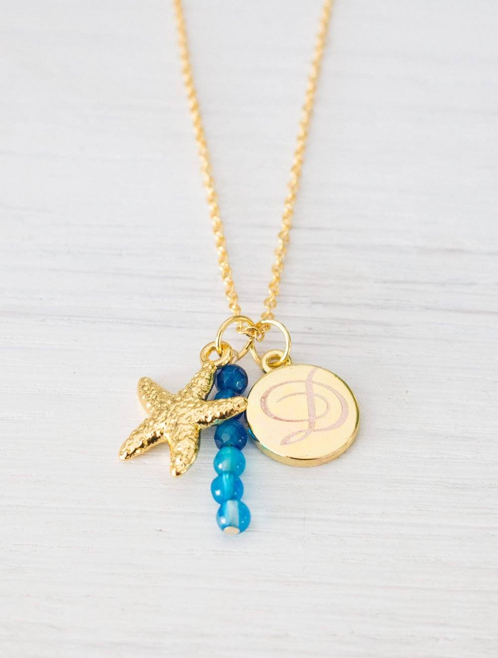 Personalized Gold Starfish Necklace, Blue Agate Stone Beads, Initial Monogram Necklace - product_type] - Beautiz