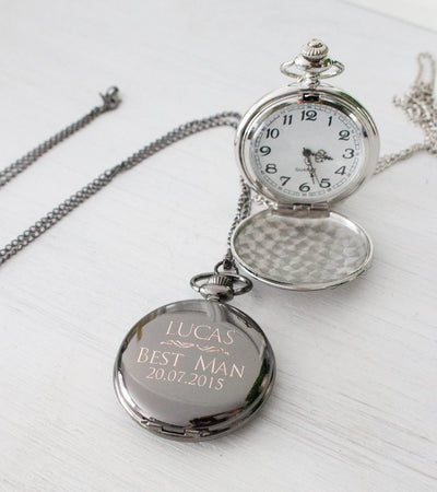 Personalized Engraved Custom Men Pocket Watch, Vintage Silver, Beautiz