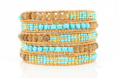 5x Wrap Beaded Leather Bracelet for Women, Five Beige Wrap, Se Beautiz