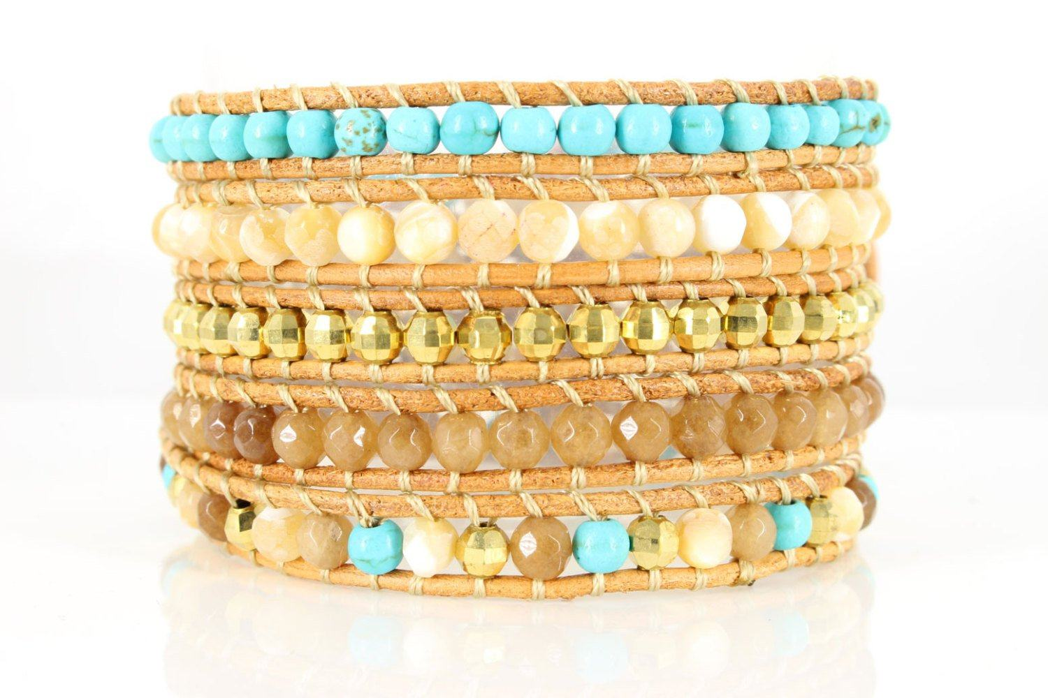 Boho Wrap Bracelet - Leather Bracelet - Beaded Bracelet - 5x Five Wrap Gold Beads Bracelet. Semi-precious stones - product_type] - Beautiz