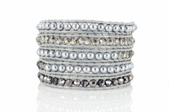 5x Wrap Beaded Leather Bracelet, Five Wrap, Swarovski Crystals Beads - product_type] - Beautiz