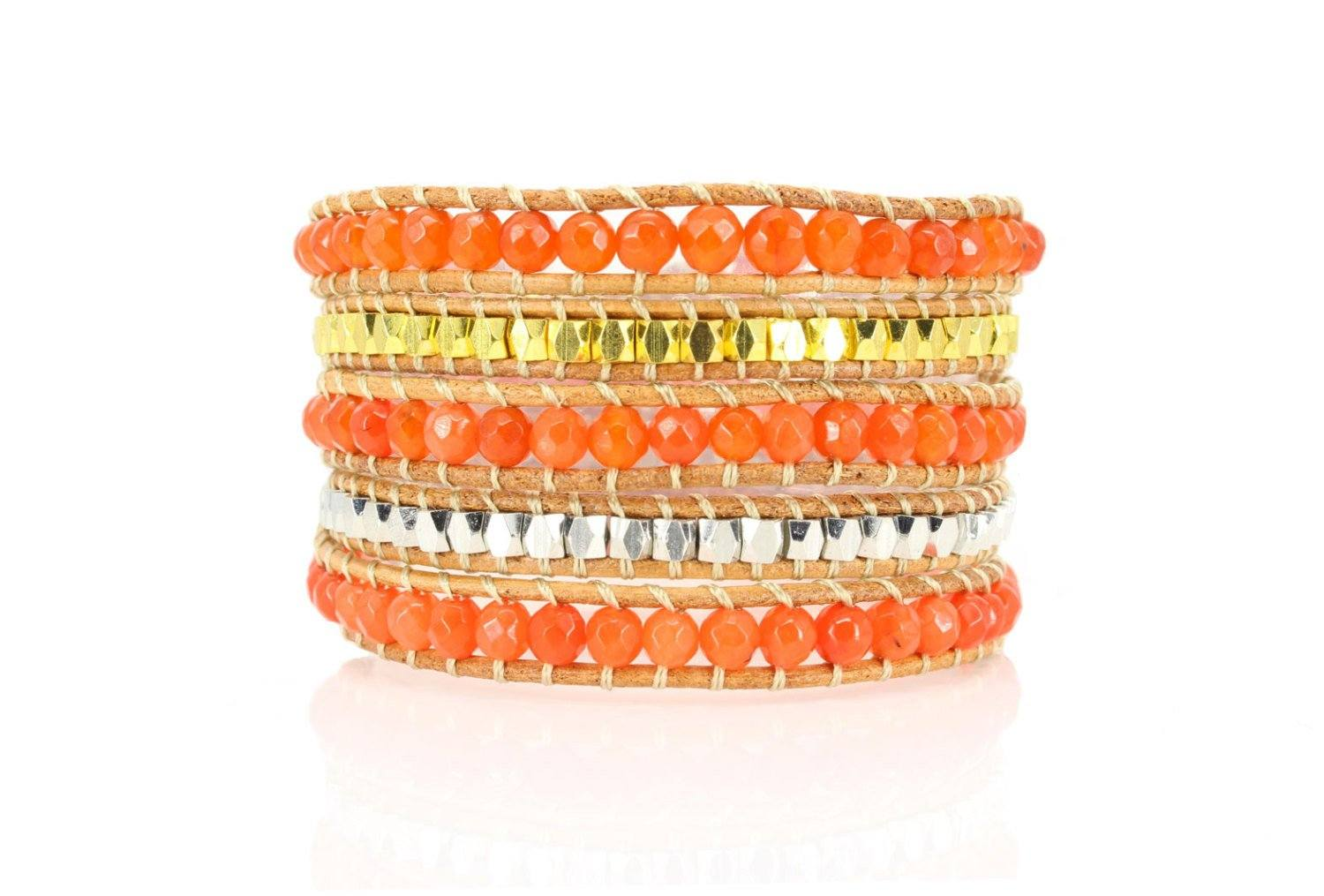 5x Wrap Leather Bracelet Semi precious orange Jasper Stone, Fi Beautiz