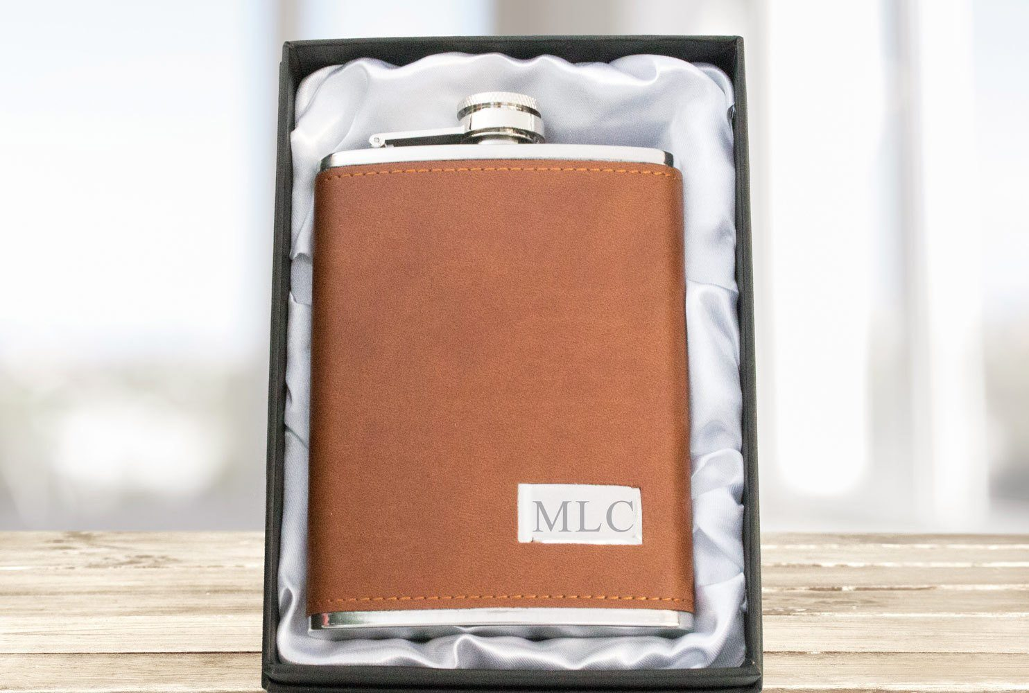Personalized Engraved Brown Leather Hip Flask, Leather & Stain Beautiz
