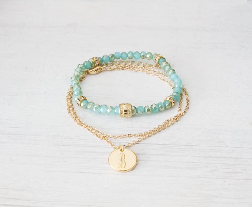 Set of 2 Personalized 16K Gold Plated Engraved Monogram Bracelets - product_type] - Beautiz