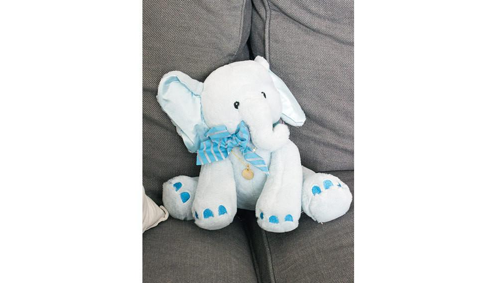 Baby Boy and Mommy Blue Elephant Plush Birth Gift Personalized Beautiz
