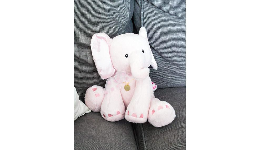 Baby Girl and Mommy Pink Elephant Plush Birth Gift Personalize Beautiz