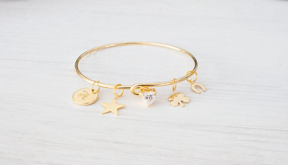 Personalized Gold Lucky Charm Bracelet, Horseshoe Clover Bangl Beautiz