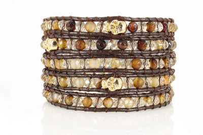 Boho Wrap Bracelet Beaded Bracelet Leather Bracelet with Swarovski Crystals Five 5x Wrap - product_type] - Beautiz
