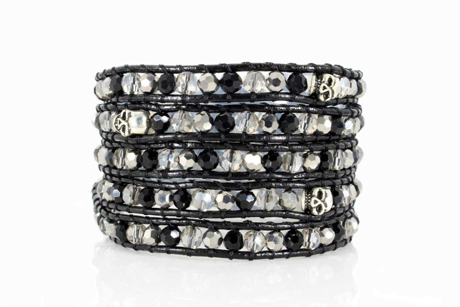 Personalized 5x Five Wrap Leather Bracelet, Precious Stones & Swarovski Crystals - product_type] - Beautiz