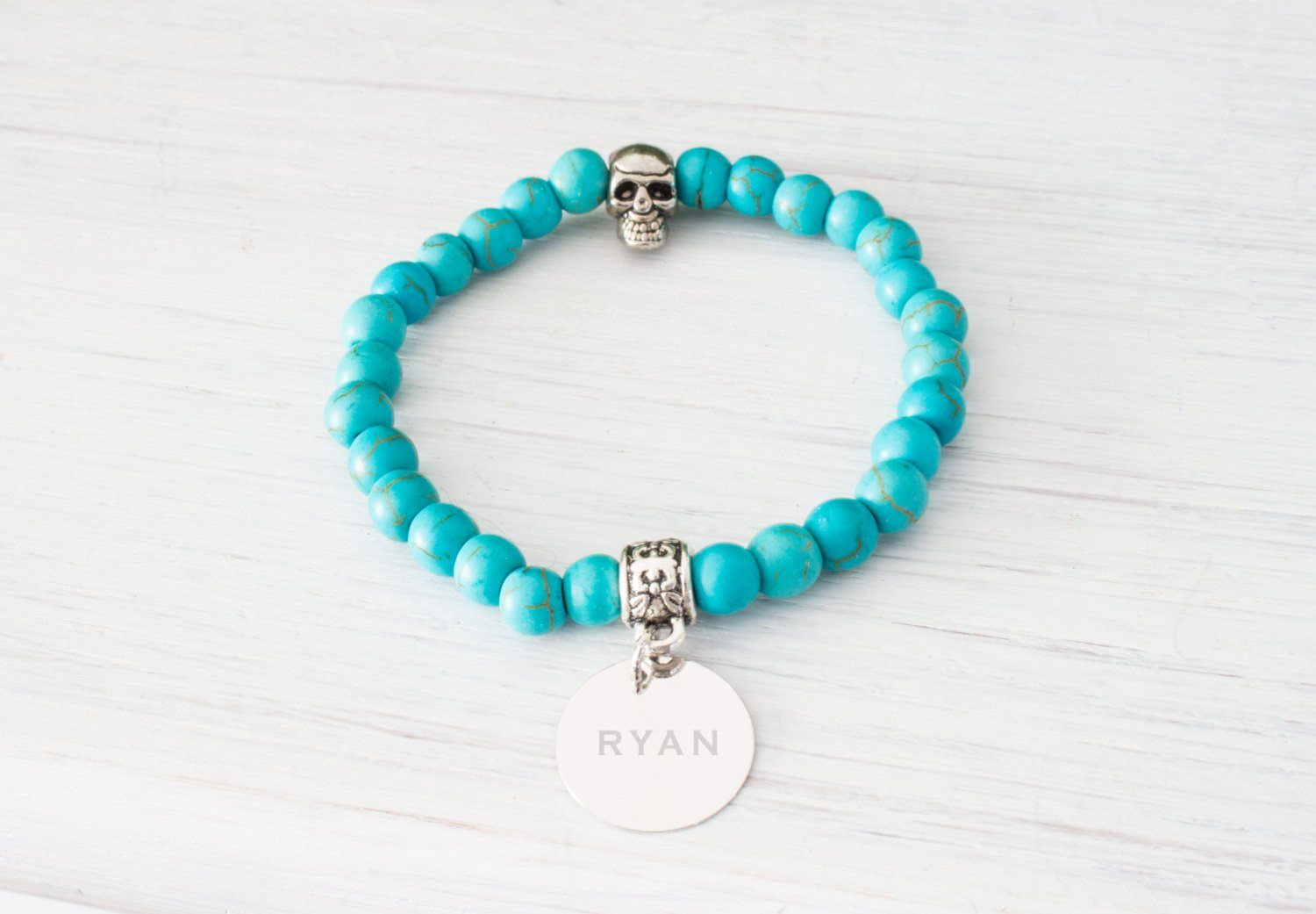 Personalized Engraved Blue Bracelet, Turquoise Stones, Monogram Initial Bracelet - product_type] - Beautiz