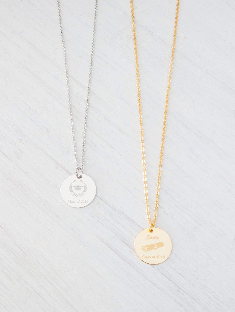 Personalized Gold Necklace, Monogram Initial Name Engraved Necklace, Silver Necklace, Medal Necklace, Christmas, wedding, bridesmaids Gifts - product_type] - Beautiz
