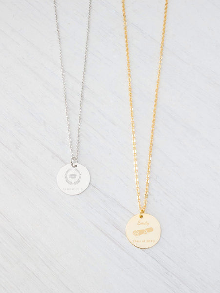 Personalized Gold Necklace, Monogram Initial Name Engraved Nec Beautiz