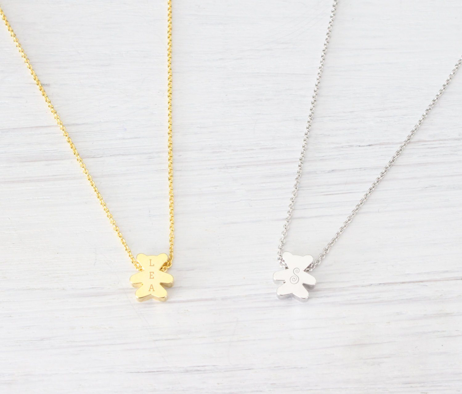 Tiny Dainty Personalized Engraved Teddy Bear Gold Necklace - product_type] - Beautiz