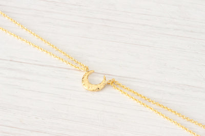 Gold Moon Phase Crescent Moon Necklace, Hammered New Moon - Beautiz