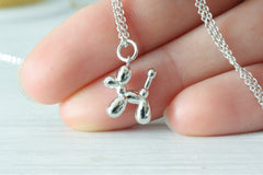 Tiny Minimalist Poodle Balloon Dog Silver Necklace