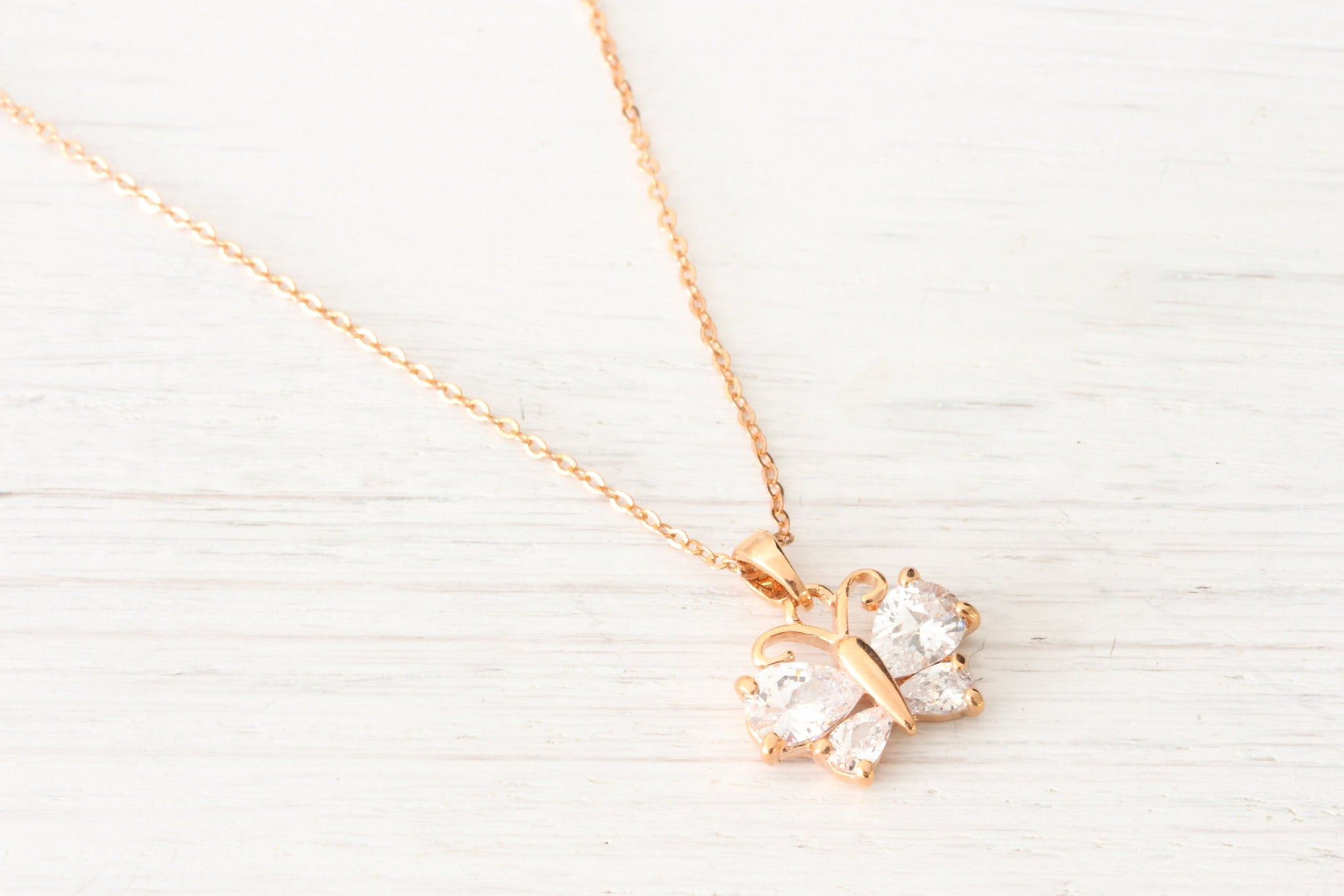 Dainty Rose Gold Butterfly Necklace with Rhinestone Crystals