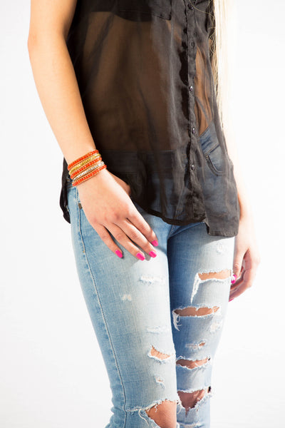 Wrap Bracelet. Leather Bracet. 5x Five Wrap Bracelet. Semi Precious orange Jasper Stones - product_type] - Beautiz