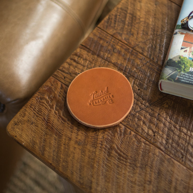 Laurel Mercantile Leather Coasters