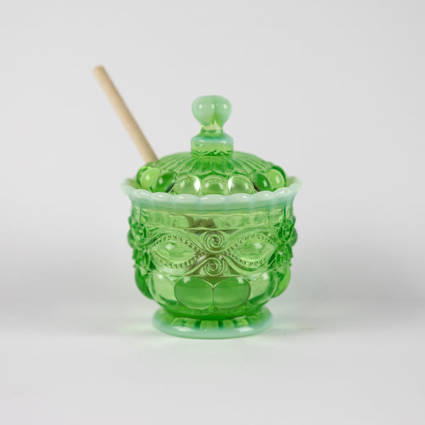 Green Opal Honey Jar