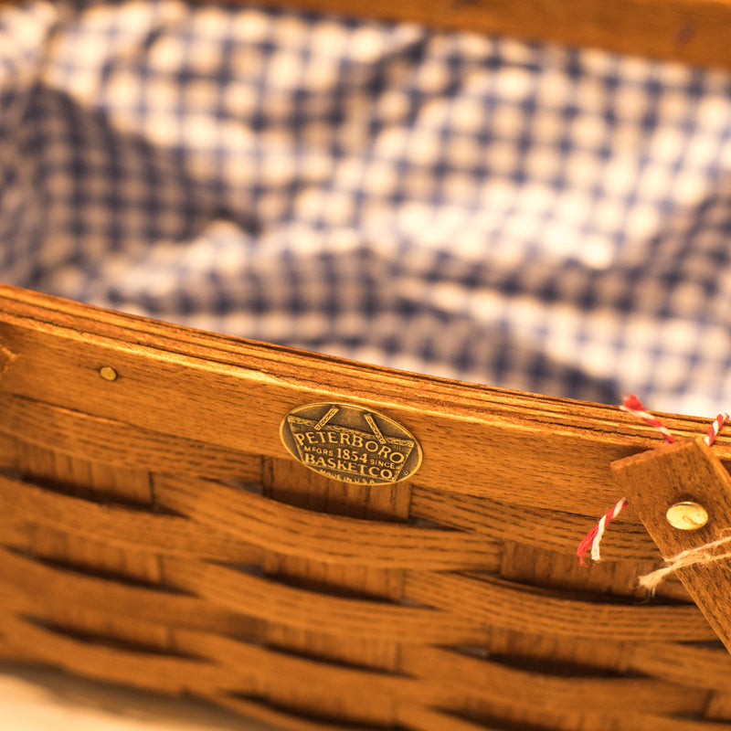 Peterboro Picnic Basket with Blue and White Liner
