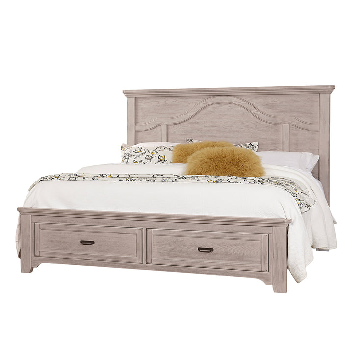 LMCo. Bungalow Collection Mantel Bed with Storage Footboard - King and Queen