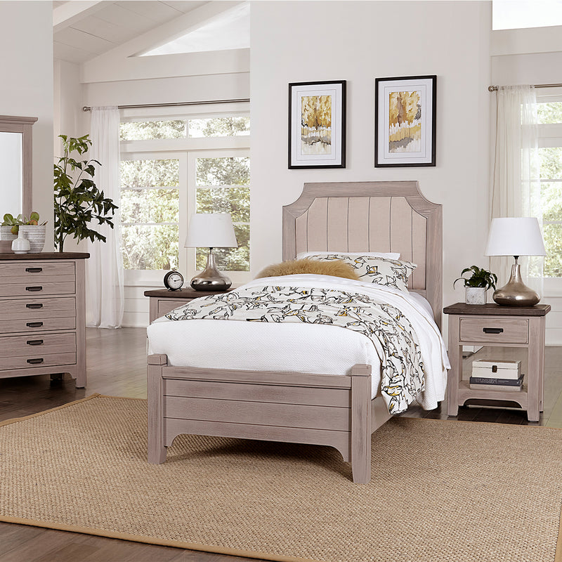 LMCo. Bungalow Collection Upholstered Bed with Low Profile Footboard - Twin and Full