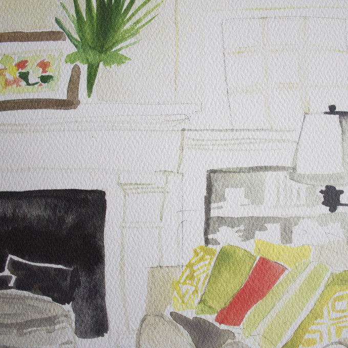"Living Room Watercolor (14"" X 11"")"