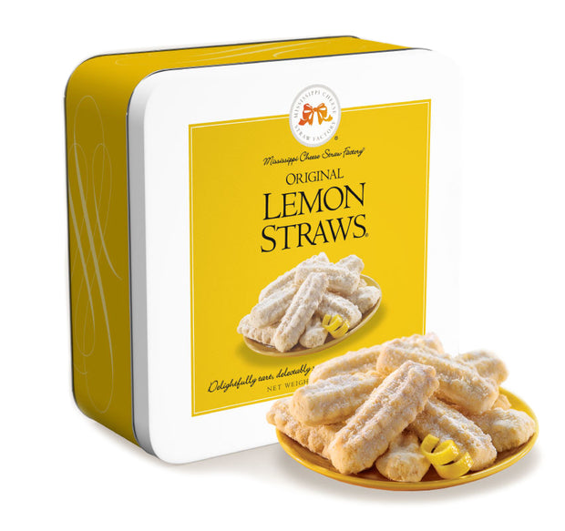 Mississippi Cheese Straw Factory Lemon Straw Gift Tin 10 oz