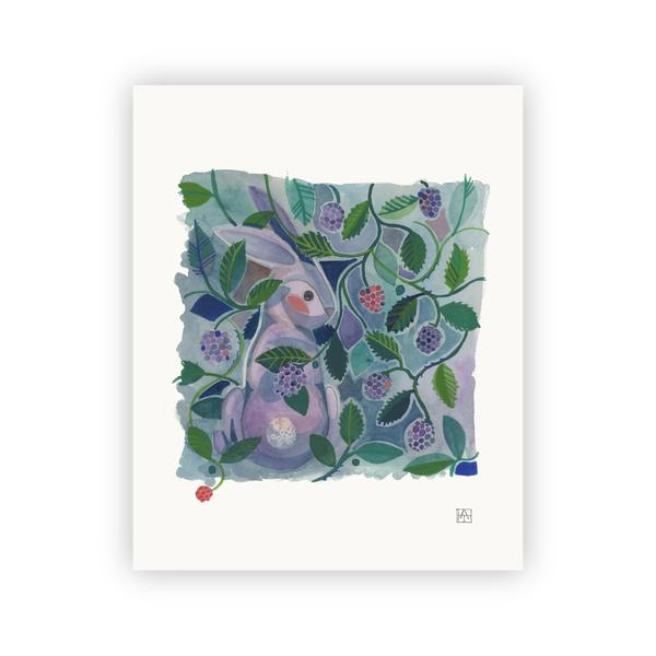 Adam Trest Rabbit In Blackberries Print