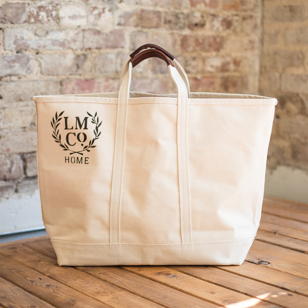 Medium Canvas Tote with Leather Handles