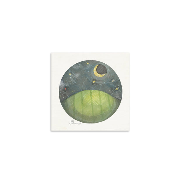 Adam Trest Tiny Art Hill at Night Print