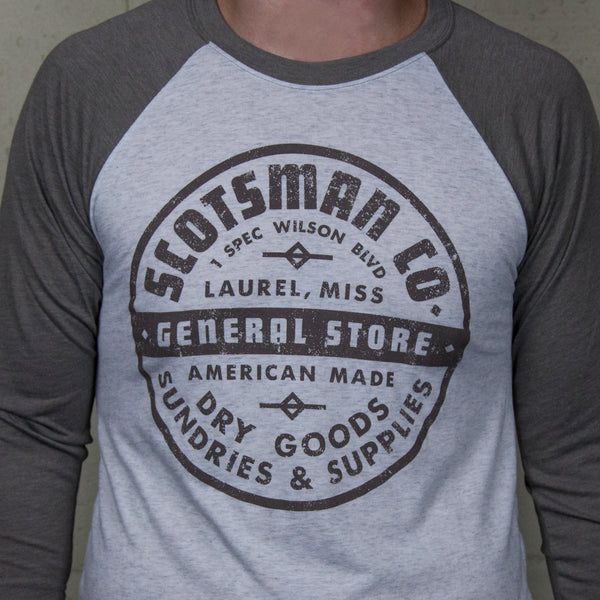 Scotsman General Store Badge Logo Baseball T-shirt