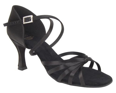 DSI COPACABANA Black Satin Ladies Latin Sandals