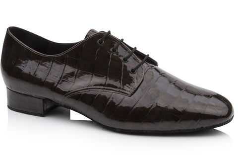 Freed Dance Steps KELLY Men's Black Croc Ballroom Shoe