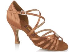Freed LOIS Ladies Dark Tan Satin Latin Sandal