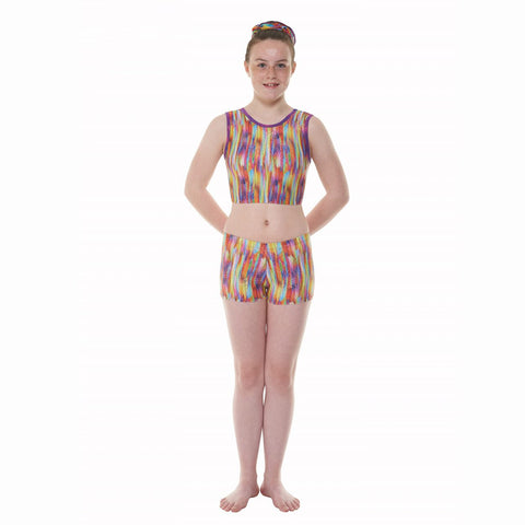 Tappers & Pointers Hip/Streaky Rainbow Gymnastics Shorts