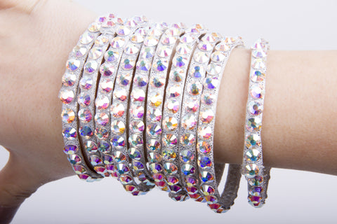 DSI Silver Crystalised Collection Bangles (2750)