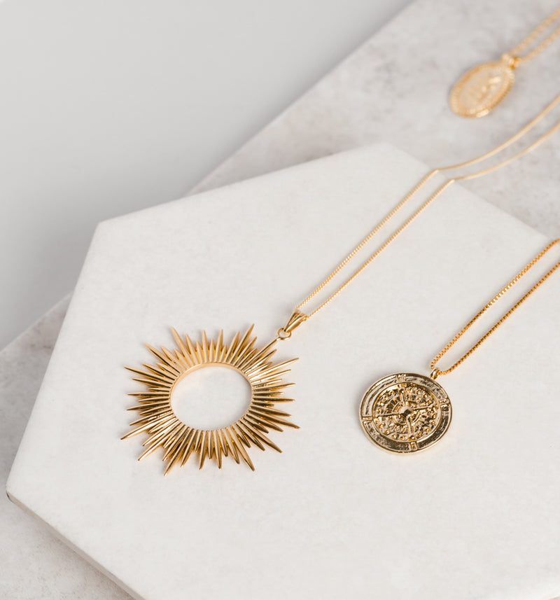 Gold Electric Goddess Statement Sun Necklace