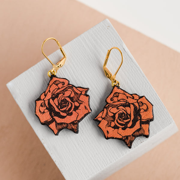 Rose Pink Small Roses Earrings
