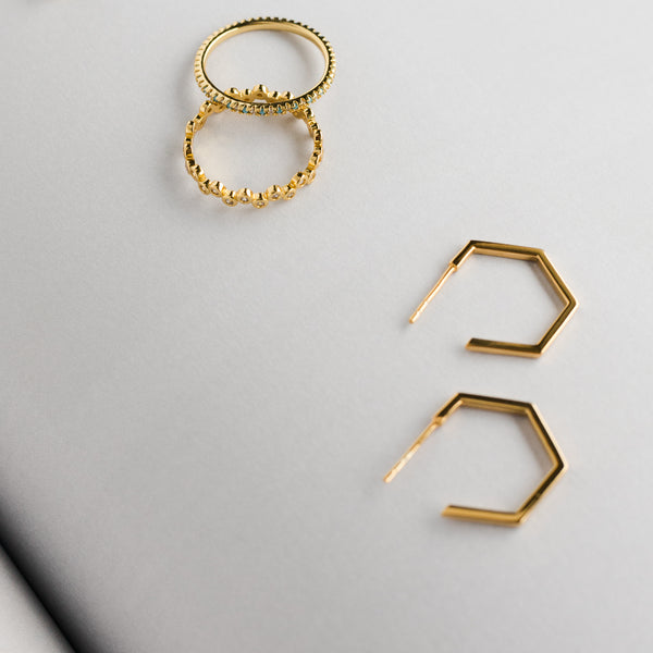 Gold Mini Hexagon Hoop Earrings