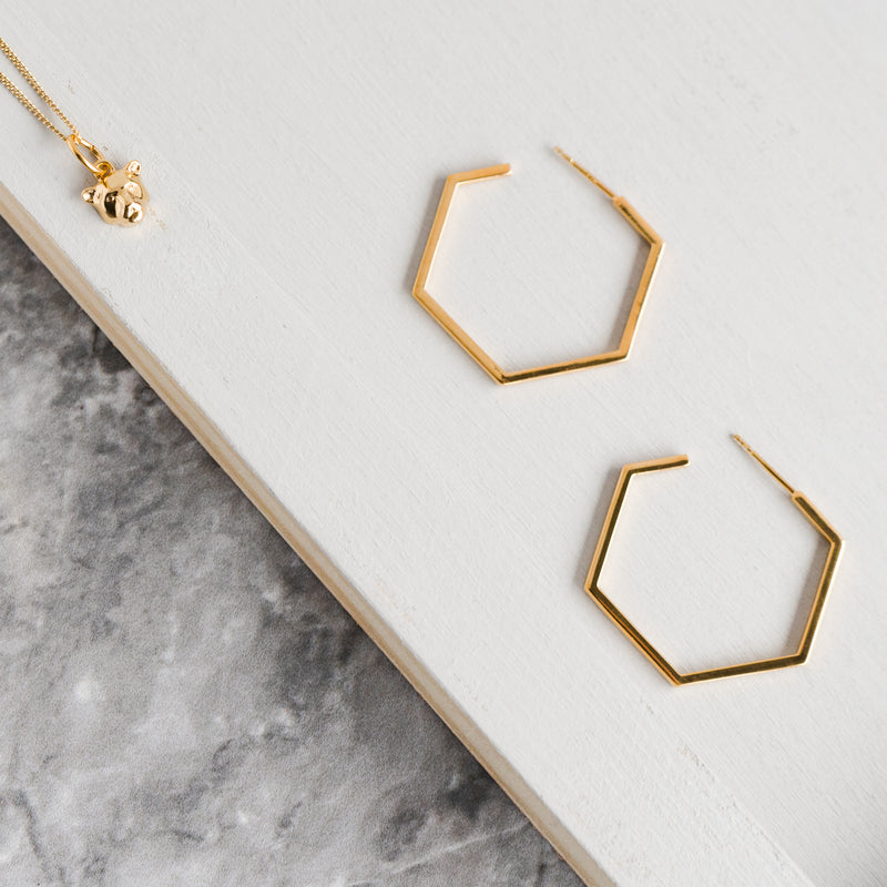 Gold Medium Hexagon Hoop Earrings