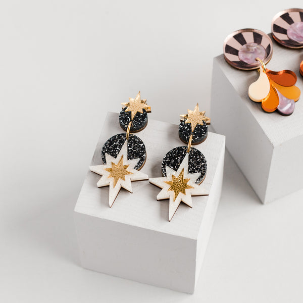 Star Deco Drop Earrings - Black Glitter