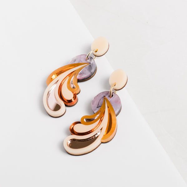 Psychedelic Wave Drop Earrings - Pink Sky