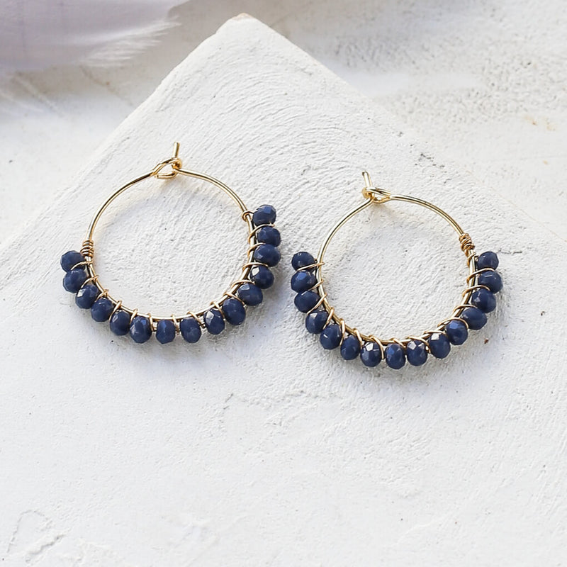 Viola Hoop Earrings - Dark Blue - Earrings - Shlomit Ofir - Jewellery - Arlette Gold