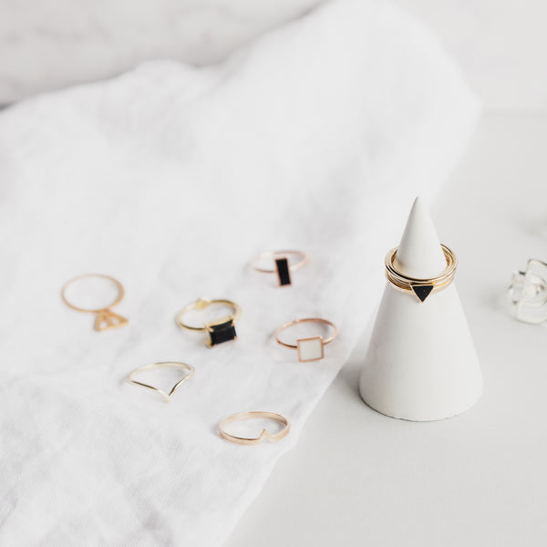 Rose Gold Geometric Square Ring - White